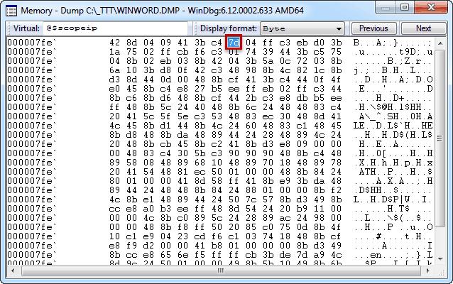 Windbg memory window